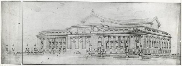 [Drawing of the library, showing the Fifth Avenue and Forty-second Street facades.]