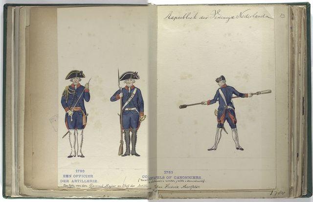 Een Officier der Artillerie ten tijde van den Generaal Majoor en chef der Artillerie Johan Frederik Martfeldt. 1780;  Constapels of Canonniers (zwarte slobkousen = winter-; witte = zomerdracht). 1780