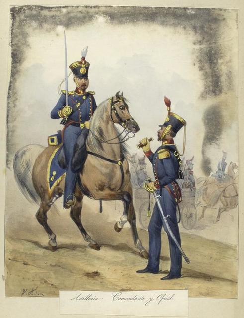 Egercito Español. Artilleria: Comandante y Oficial.