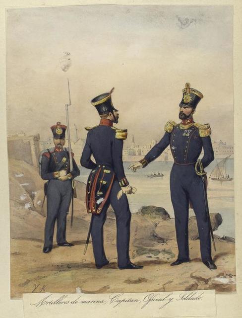 Egercito Español. Artilleros de marina: Capitan, Oficial y Soldado.