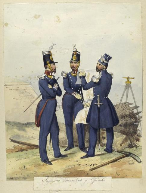 Egercito Español. Ingenieros, Comandante y Oficiales.