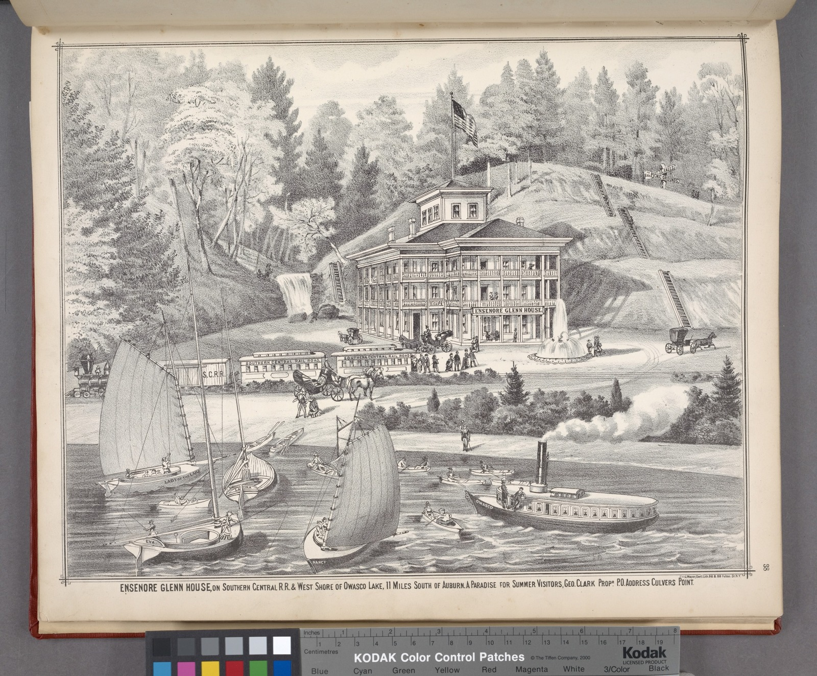 """""""Ensenore Glenn House, on Southern Central R.R. & West Shore of Owasco Lake, 11 Miles South of Auburn. A Paradise for Summer Visitors, Geo. Clark Propr. P.O. Address Culvers Point."""""""