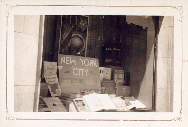 Exterior, window display on New York City, Yesterday and Tomorrow