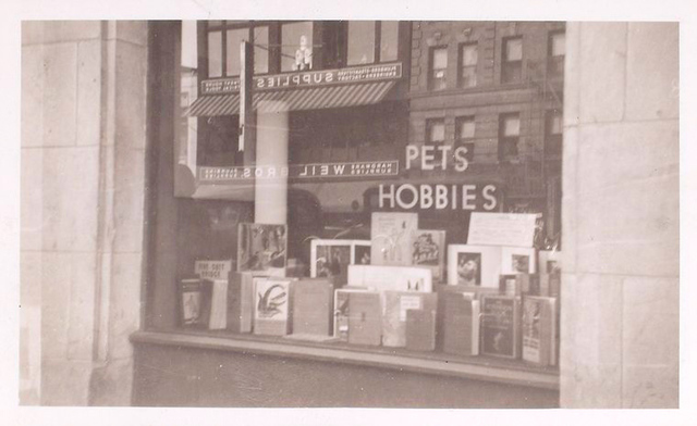 Exterior, window display on pets and hobbies