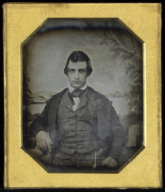 Framed octagon daguerreotype of Edwin Booth.