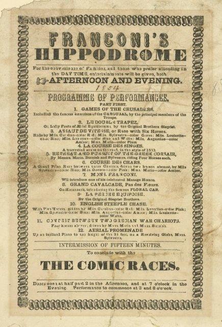 Franconi's Hippodrome. . .programme. . .