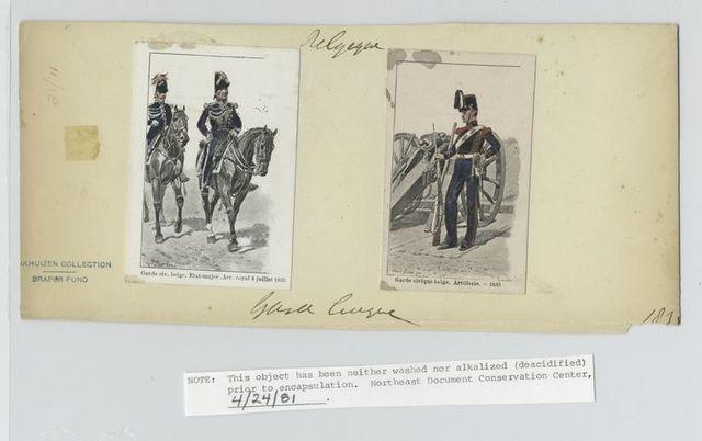 Garde civ. Belge. Etat-major. Arr. Royal 4 juillet, 1835 ; Garde civique belge. Artillerie - 1835.