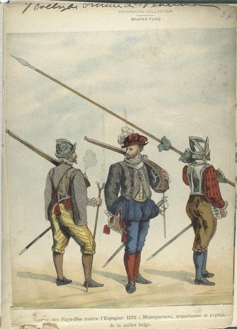 Guerre des Pays-Bas contre 1'Espagne: 1572: Mousquetaire, Arquebusier et piquier de la Milice Belge
