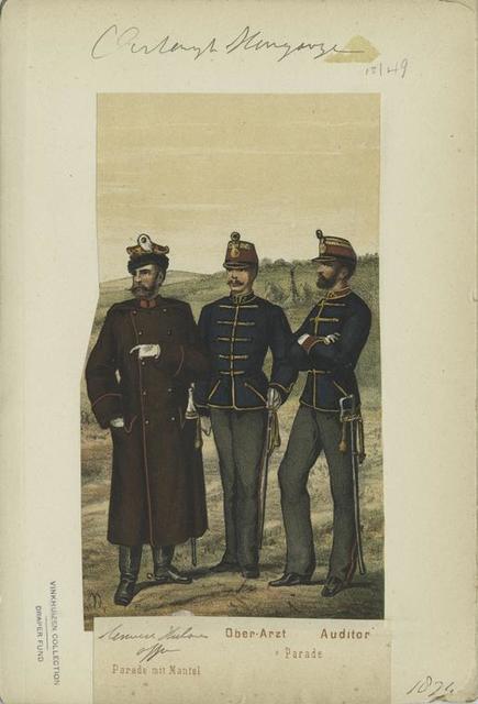 Honved Uhlanen Officier (Parade mit Mantel); Ober-Arzt, Auditor (Parade). 1874