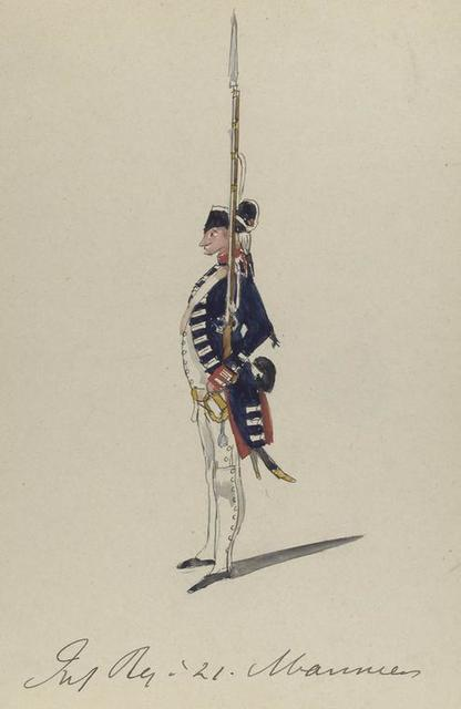 Infanterie Regiment no. 21. Mariniers. 1772