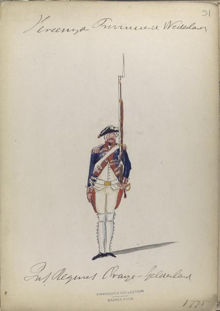 Infanterie Regiment Oranje Gelderland.  1775