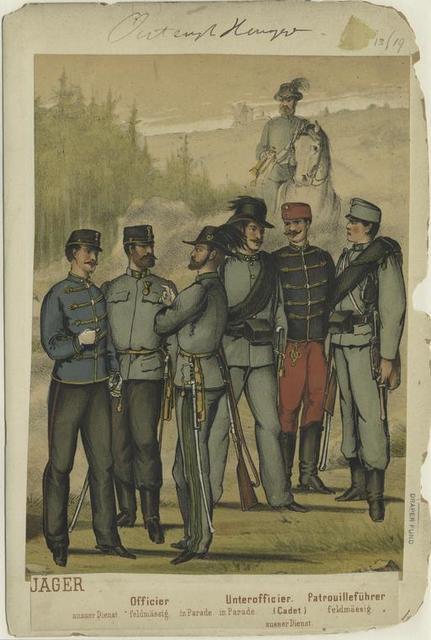 Jäger : Officier (ausser Diensts, feldmässig, in Parade), Unterofficier (in Parade), Cadet (ausser Dienst), Patrouilleführer (feldmässig).