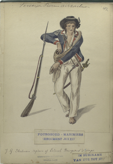 J.G. Stedman, Captain of Colonel Fourgeoud's corps. Fourgeoud -Mariniers (Regiment no. 21), in Suriname van tot 1777.