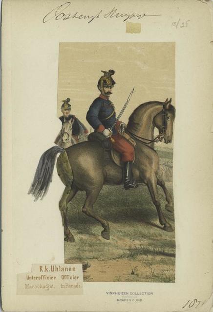 K.k. Uhlanen : Unterofficier (Marschadjst.), Officier (in Parade).