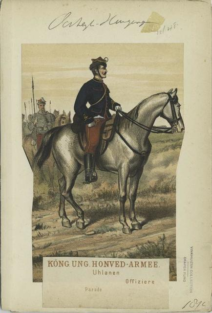 Köng. Ungr. Honved-Armee. Uhlanen : Offiziere (Parade). 1874