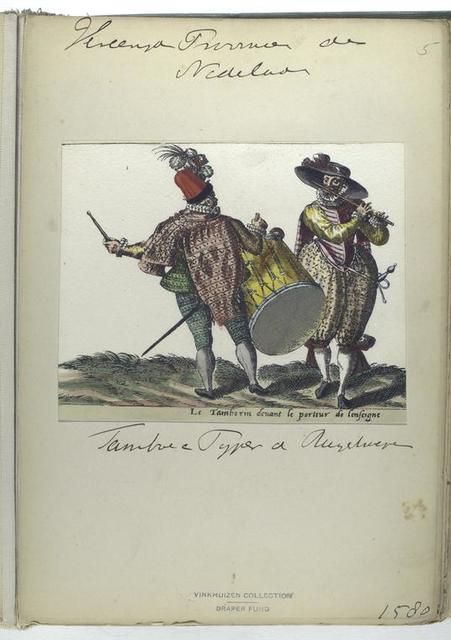 Le tamborin devant le porteur de lenseigne [Vereenigde Provincien der Nederlanden : tamboer en pijper v Rugelweger [?], 1580]