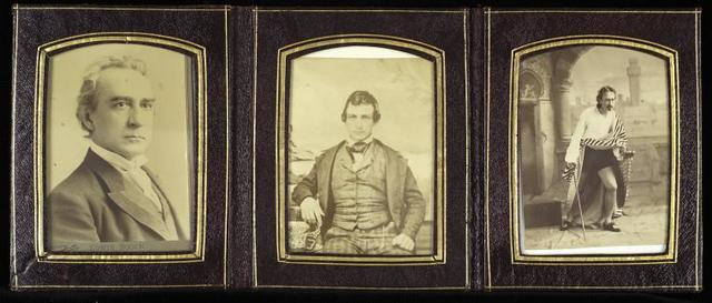 Leather bound triptych framed photographs of Edwin Booth.