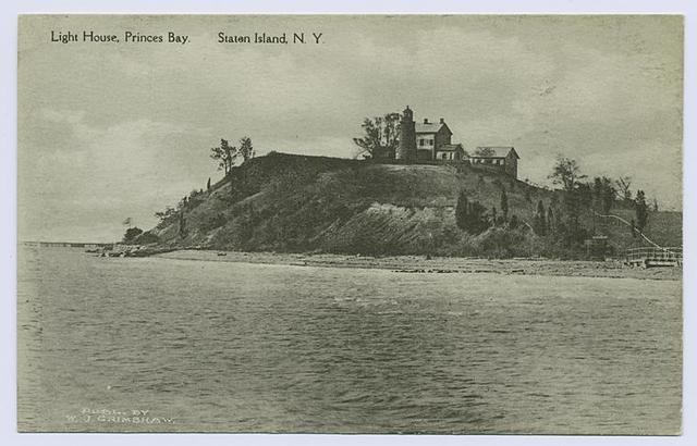 Light House, Princes(sic) Bay, Staten Island, N.Y. [view of lighthouse and buildings from water]