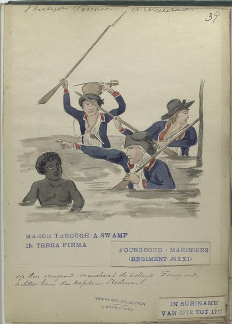 March through a swamp in Terra Firma, Fourgeoud -Mariniers (Regiment no. 21), in Suriname van tot 1777.