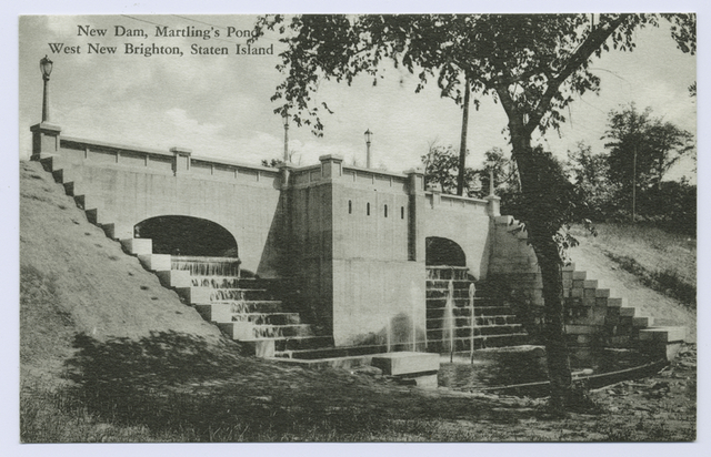 New Dam, Martling's Pond, West New Brighton, Staten Island [close-up of dam]