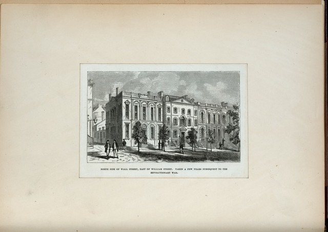 North side of Wall Street, East of William Street. Taken a few years subsequent to the Revolutionary War.