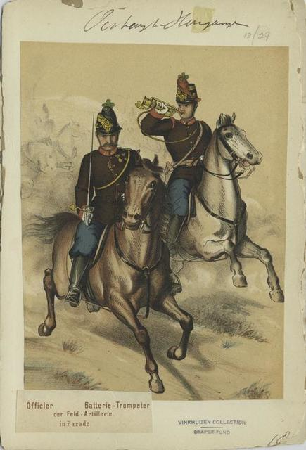 Officier, Batterie-Trompeter der Feld-Artillerie (in Parade).