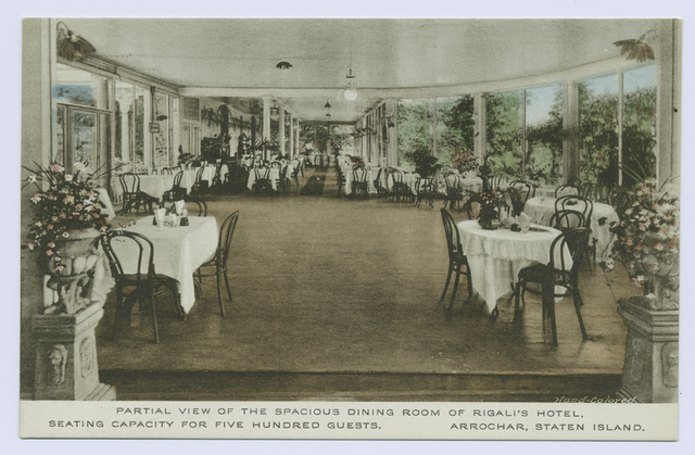 Partial View of the Spacious Dining Room of Rigali's Hotel, Seating Capacity for Five Hundred Guests. Arrochar, Staten Island  [beautiful interior of dining room and dance floor]