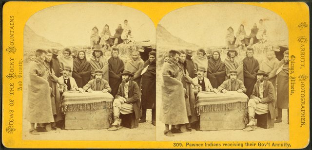 Pawnee Indians receiving their Gov't annuity.