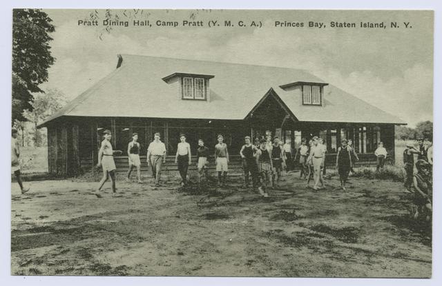 Pratt Dining Hall, Camp Pratt (Y.M.C.A.) Princes(sic) Bay, Staten Island  [boys gathered and posed outside of building]