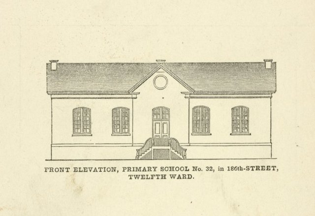 Public schools. Front elevation Primary School No. 32, in 186th-Street, Twelfth Ward.