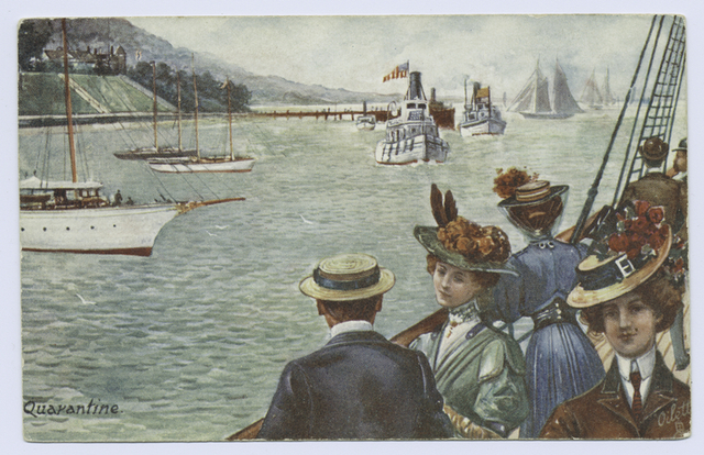 Quarantine  Tuck oilette A Trip to Europe, postcard  2908  [artist-drawn, people on ship deck, and yachts in water]
