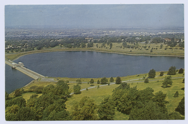 Silver Lake [aerial view of reservoir and surrounding area]