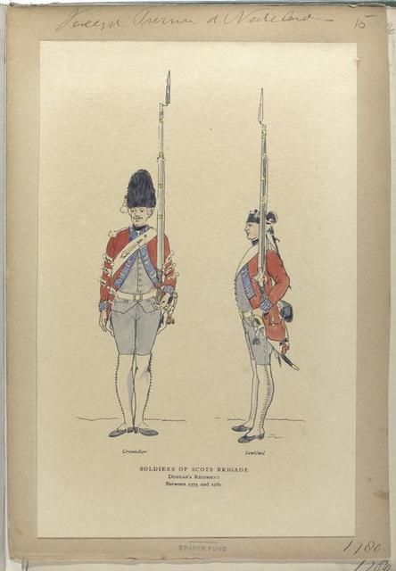 Soldiers of Scots Brigade Dundas's Regiment between 1775 and 1780 : Grenadier, Sentinel.
