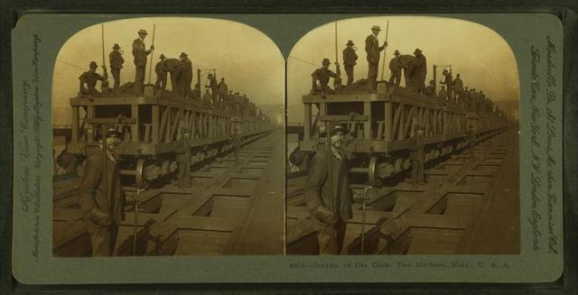 Surface of ore dock, Two Harbors, Minn. U.S.A.