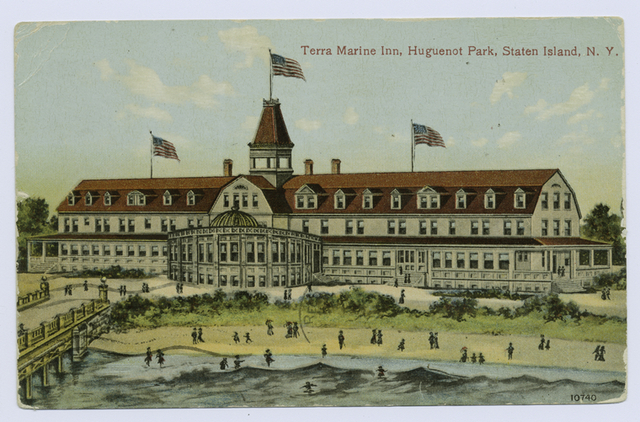 Terra Marine Inn, Huguenot Park, Staten Island, N.Y.  [view of building and dock from beach; people scattered on beach]