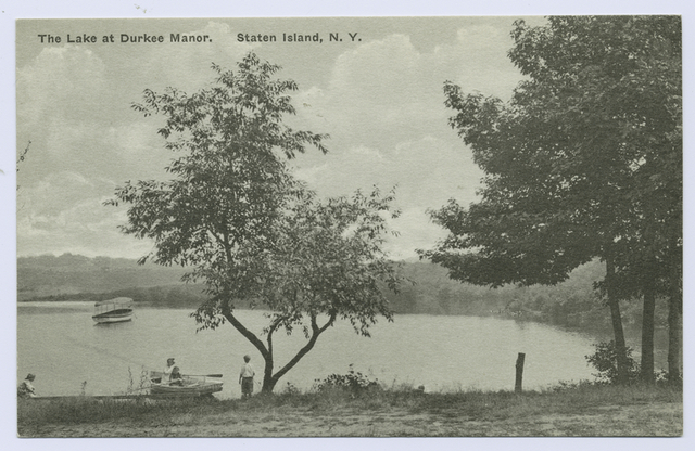 The Lake at Durkee Manor, Staten Island, N.Y. [people and small boats at shoreline]