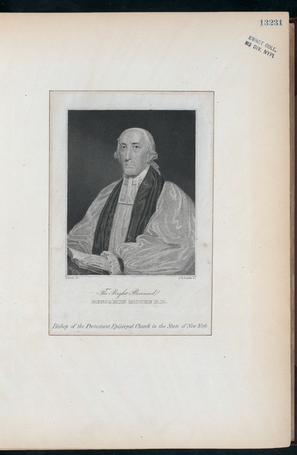 The Right Reverend Benjamin Moore D.D. Bishop of the Protestant Episcopal Church in the State of New York.