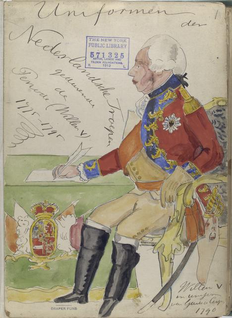 Title pages Uniformen der Nederlandsche Troepen gedurende de Periode (Willem V) 1775-1795.; Willem V in uniforme van Garde du Corps. 1790