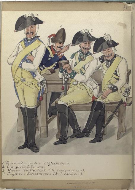 1. Gardes Dargonders (Lijfeskadron); 2. Oranje - Carabiniers; 3. Hessen - Philipsthal (W. Landgraaf van); 4.  Tuyll van Serooskerken (H.J. Baron van).