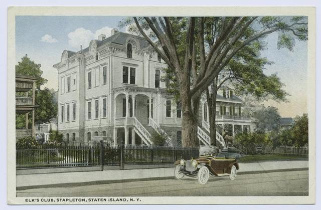 Elk's Club, Stapleton, Staten Island, N.Y. [old red touring car parked in front of  beautiful white mansion]