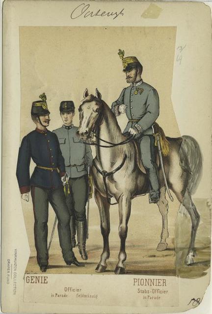 Genie : Officier (in Parade; feldmässig). Pionnier: Stabs-Officier (in Parade).