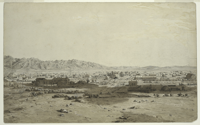 Great Salt Lake City in 1853.  Looking south.