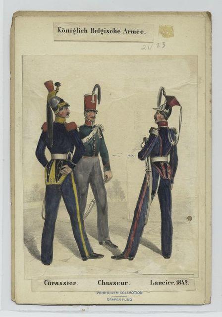 Königlich Belgische Armee. Cürassier ; Chasseur ; Lancier ; 1842
