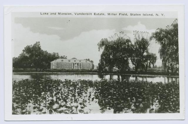 Lake and Mansion, Vanderbilt Estate, Miller Field, Staten Island, N.Y.
