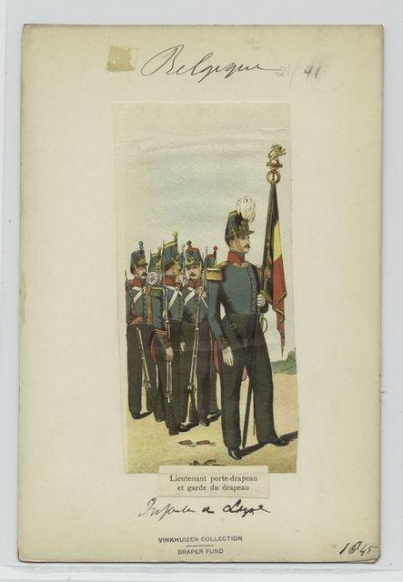 Lieutenant porte-drapeau et garde du drapeau.  Infanterie de ligne