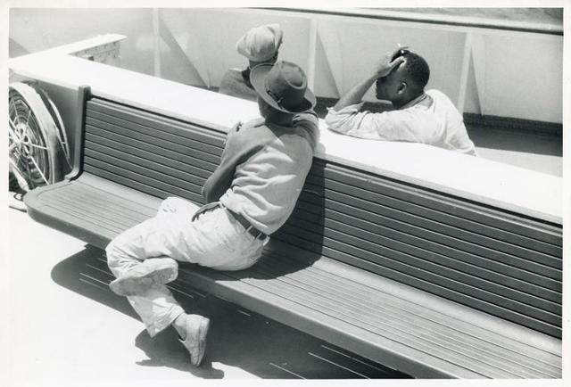 "Migratory agricultural workers on board the ""Princess Anne"" going to the Eastern Shore Virginia, July 1940."