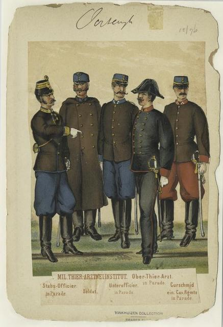Mil.Thier-Arztnei-Institut [from left to right], Stabs-Officier (in Parade), Soldat, Unterofficier (in Parade), Ober-Their-Arzt (in Parade), Curschmid ein. Cav.Rgmts (inParade).