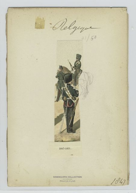 [Mounted soldier with a rifle and two standing soldiers in green uniforms with red accents.]