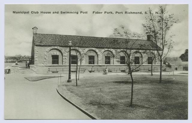 Municipal Club House and Swimming Pool, Faber Park, Port Richmond, Staten Island, N.Y. [entrance area to club house]