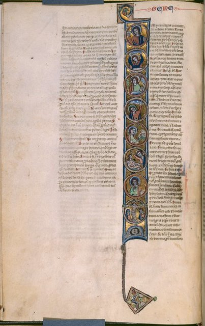 Opening of Genesis, scenes of creation on gold.  Placemarkers, book name.